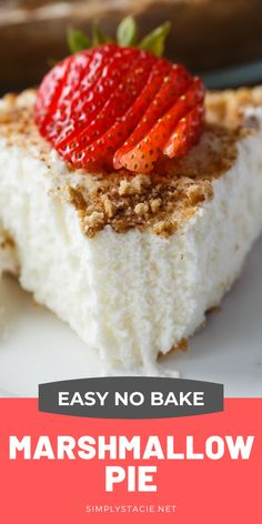 Marshmallow Pie - Creamy and sweet! This rich no-bake pie is like heaven on earth. Frozen Desserts, No Bake Desserts, Easy Desserts, Delicious Desserts, Yummy Food, Yummy Treats, Sweet Treats, Best Dessert Recipes, Potluck Recipes