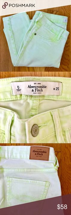 RARE! Abercrombie & Fitch Super Skinny Ankle Jeans RARE!!! 🦄 DISCONTINUED!!! Lime tie-dyed 5 pocket style with right interior coin pocket, iconic back pocket stitching.  Material And Care * 98% Cotton, 2% Elastane * Wash before wear, turn garment inside out * Machine wash cold, with like colors * Do not bleach * Tumble dry low * Warm iron if needed * Do not dry clean Abercrombie & Fitch Jeans Skinny