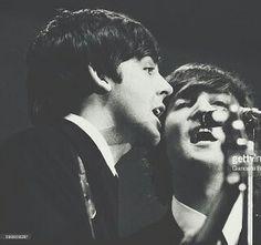Paul McCartney and John Lennon of The Beatles.