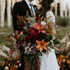 Fall/Autumn inspired elopement/wedding in the beautiful aspen trees in Flagstaff. Fall/Autumn inspired elopement/wedding in the beautiful aspen tree. - Fall/Autumn inspired elopement/wedding in the beautiful aspen trees in Flagstaff. Bridal Bouquet Fall, Fall Bouquets, Fall Wedding Bouquets, Fall Wedding Flowers, Fall Wedding Colors, Bride Bouquets, Floral Wedding, Bouquet Flowers, Halloween Wedding Flowers