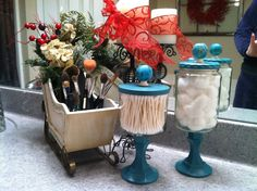 Made from Bath and Body candle jars, candle sticks and drawer knobs. Clean out used candle jars, paint dollar store candle sticks and lid and choose the knob of your choice. A friend drilled a hole in lid to secure knob, but some simply glue the knob on top.