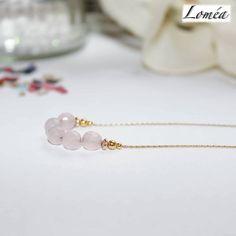 Collier fin minimaliste en plaqué or gold filled et quartz rose : Collier par lomea