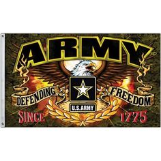 United States Army Defending Freedom Flag since Made from FlagGrommets for easy hanging