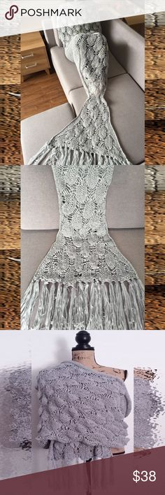 Mermaid Blanket Silver Gray with Tassels ~ Lightweight Adult Size ~ Measures 180L * 90W CM Accessories Scarves & Wraps