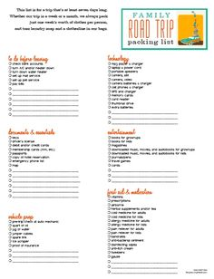 Her blog has packing lists, grocery lists, daily chore charts for download