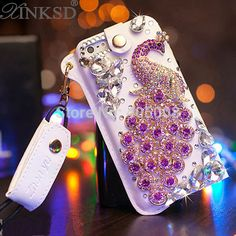 For iphone 5 5S 4 4S Luxury Rhinestone Crystal Diamond Bling Peacock Case Cover For Sumsung S5 S4 Leather Mobile Phone Case Skin