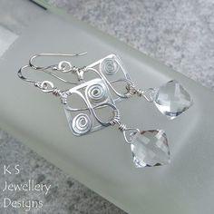 Double Diamond - Crystal Quartz Sterling Silver Spiral Loops Square Frame Earrings (KS26) | par KSJewelleryDesigns