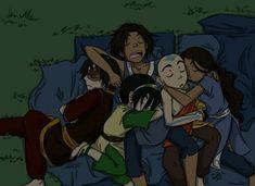 Aang and Katara are so cute! Zuko needs no loving in his life, toph is only with sokka and sokka is the big mama Avatar Aang, Avatar Airbender, Suki Avatar, Avatar Funny, Team Avatar, Avatar Legend Of Aang, Avatar Cartoon, Fan Art Avatar, The Last Avatar
