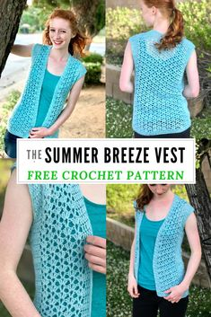 A free crochet pattern of a breeze vest. Do you also want to crochet this summer breeze vest? Read more about the Free Crochet Pattern Summer Breeze Vest. Crochet Cardigan Pattern, Crochet Shirt, Crochet Patterns, Crochet Edgings, Shawl Patterns, Crochet Motif, Sewing Patterns, Vogue Patterns, Vintage Patterns