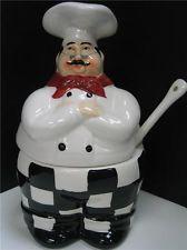 Italian FAT French CHEF sugar dish bowl DECOR BISTRO bar kitchen set dining New.