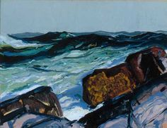 """Iron Coast, Monhegam,"" George Wesley Bellows, 1913, Oil on panel, The Monhegan Museum."