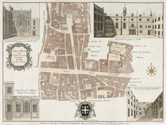 MAITLAND, William. Engraved by Benjamin Cole. Cheap Ward with it's Division into Parishes according to a new survey. 1756. #London  #map http://sotherans.blogspot.co.uk/