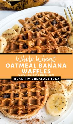Healthy Oatmeal Banana Waffles for Two Healthy Oatmeal Banana Waffles are made with whole wheat flour, oats & other clean ingredients. Enjoy this easy breakfast recipe for two! Banana Waffles Easy, Healthy Waffles, Oatmeal Waffles, Healthy Waffle Recipes, Protein Waffles, Breakfast Waffles, Breakfast Sandwiches, Banana Recipes, Healthy Breakfasts