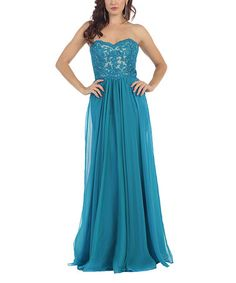 Another great find on #zulily! Teal Blue Lace Strapless Gown & Shawl - Plus Too #zulilyfinds