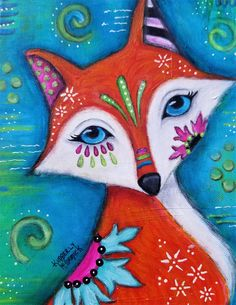 #kimberlymccormick #artbykimberly #beautyforashesartanddecor #whimsicalart #fox #healingart #animalpportrait