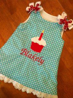 Aqua and Red Polka dot cupcake dress