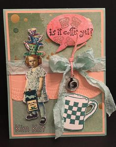 Coffee Card Pop Up 3D Bratty Girl Funny Saying Is It Coffee