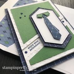 Well Dressed Sale-A-Bration Stamp Set by Stampin' Up! Masculine Retirement Card by Mary Fish, Stampin' Pretty Source by stampinpretty Tarjetas Stampin Up, Stampin Up Cards, Masculine Birthday Cards, Masculine Cards, Mary Fish, Stampin Pretty, Retirement Cards, Fathers Day Cards, Man Birthday