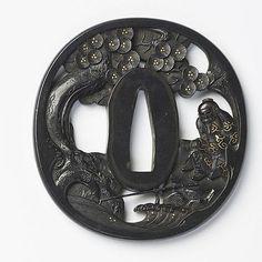 JAPON - Fin époque EDO (1603 - 1868) Nagamaru gata en shakud