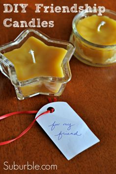 tiny poured beeswax candles