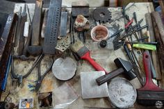 Working bench of Mister Patten, artisan-bijoutier, jeweler who still creates everything by hand in Port-Louis, Mauritius