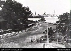 Archival image of Stokes Hill Wharf, Darwin. Looking down what is now McMinn Street, toward the Wharf. Darwin, Old Photos, Connection, Past, Australia, History, Street, City, Outdoor