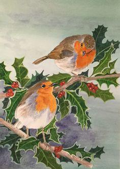 Watercolour Robins by Susan Wildman