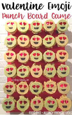 Instructions for Emoji Valentine Game. FOOD FREE fun for Valentine's Day. Fun heart-eyed emoji punch board game for kids.