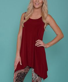 Look what I found on #zulily! Maroon Sleeveless Sidetail Tunic #zulilyfinds