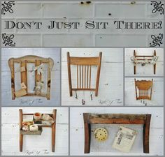 Old chair backs repurposed. Knick of Time: Thursday's Theme - {Don't Just Sit There!}