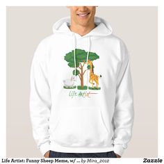 Life Artist: Funny Sheep Meme w/ Giraffe Acacia Hoodie - Outdoor Activity Long-Sleeve Sweatshirts By Talented Fashion & Graphic Designers - Sheep Meme, Funny Sheep, Fashion Graphic, Fashion Design, Hooded Sweatshirts, Men's Hoodies, Front Design, Acacia, Mens Fashion