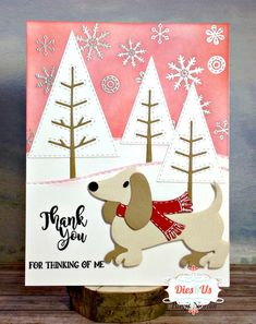 Christmas Dog, Handmade Christmas, Christmas Crafts, Dog Cards, Baby Cards, Xmas Cards, Greeting Cards, Marianne Design Cards, Animal Cards
