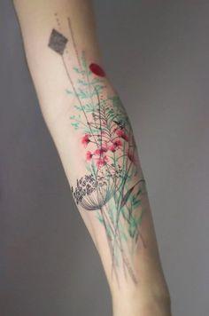 Dainty pastels vegetals #tattoo by Marta Lipsinki. | via tattoodo.com