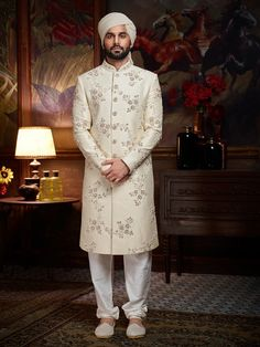 Designer Wedding Off White Sherwani - ImPane Sherwani For Men Wedding, Sherwani Groom, Wedding Dresses Men Indian, Wedding Dress Men, Wedding Suits, Designer Bridal Lehenga, Indian Bridal Lehenga, Pakistani Bridal Dresses, Indian Men Fashion