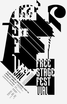 The Illinois State University Theatre students hold the Freestage Festival each spring as a venue to produce experimental plays. With six shows on the poster, I wasn't sure that one single image could represent such a variety. I decided a typographic solution might work best, and the black and white saved printing costs. The headline is a custom-made typeface for display.  by Jude Landry