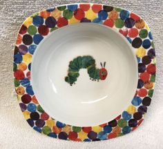 "portmeirion ERIC CARLE Bowl VERY HUNGRY CATERPILLAR child 6"" cereal WORLD of EUC #Portmeirion #EricCarle"