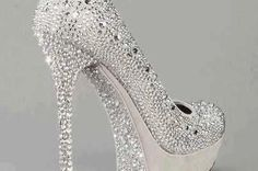 Silver High Heels With Stones