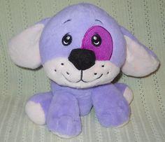 "Plush Lilac Purple Baby Puppy Dog Dan Dee 8"" Stuffed Eye Patch Small Smiling #DanDee"