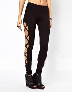 fc4c3f1be38 SheIn offers Black Skinny Side Bandage Elastic Leggings   more to fit your  fashionable needs.