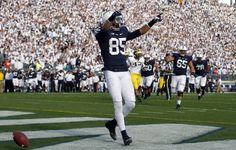PENN STATE – FOOTBALL 2013 – Penn State vs Michigan on Homecoming, October 12, 2013. Brandon Felder #85 of the Penn State Nittany Lions celebrates a first half touchdown against the Michigan Wolverines during the game on October 12, 2013 at Beaver Stadium in State College, Pennsylvania. (Photo by Justin K. Aller/Getty Images)