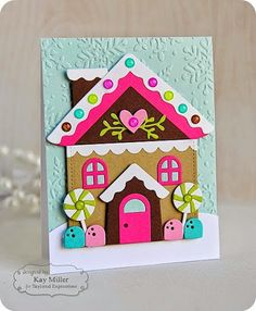 TE Blog Design Team: A House Made of Gingerbread Card by Kay Miller #Carmaking, #Christmas, #SackIttoYou, #EmbossingFolders, #BlogTeam, #TE, #ShareJoy