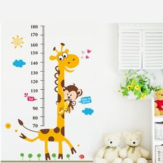 >> Click to Buy << Giraffe Monkey Height Measure Wall Stickers For Kids Rooms Height Chart Ruler Wall Decals Home Decor Room Decoration #Affiliate