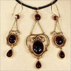 Antique Garnet Cabochon Snake Earrings and by VictoriaSterling