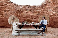 Macrame Bohemian Desert Wedding - sweetheart table  #bohemian #modernmacrame Quarai Ruins, New Mexico