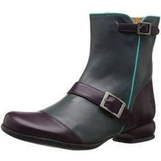 John Fluevog Women's Emma Engineer Boot ($251) ❤ liked on Polyvore featuring shoes, boots, zip shoes, motorcycle boots, toe cap shoes, zipper boots and john fluevog shoes