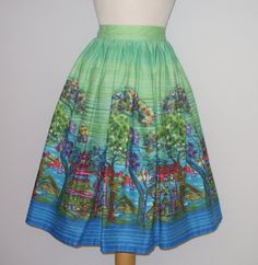 1950s Novelty Print Skirt / Geisha Girls by RainbowValleyVintage, £65.00