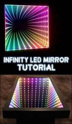 Learn how to make your own awesome infinity LED mirror by viewing the step-by-step tutorial here! Led Diy, Led Mirror, Mirror With Lights, Mirror Maze, Infinity Mirror Table, Infinity Spiegel, Infinity Lights, Infinity Room, Deco Led