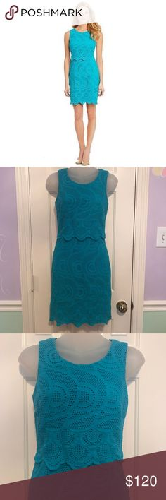 Antonio Melani Regina Eyelet Lace Versatile Dress Antonio Melani Regina Eyelet Lace Versatile Dress. Like new condition. Size 0. Color turquoise. Box 12/6 ANTONIO MELANI Dresses