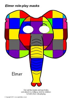Elmer role-play masks - SparkleBox - great resources to support the wonderful Elmer the Elephant story Kindergarten Activities, Book Activities, Preschool, Nursery Activities, Phonics Activities, World Book Day Ideas, Elmer The Elephants, Room On The Broom, Book Day Costumes
