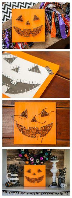 Jack-O-Lantern String Art Sign | Halloween Crafts